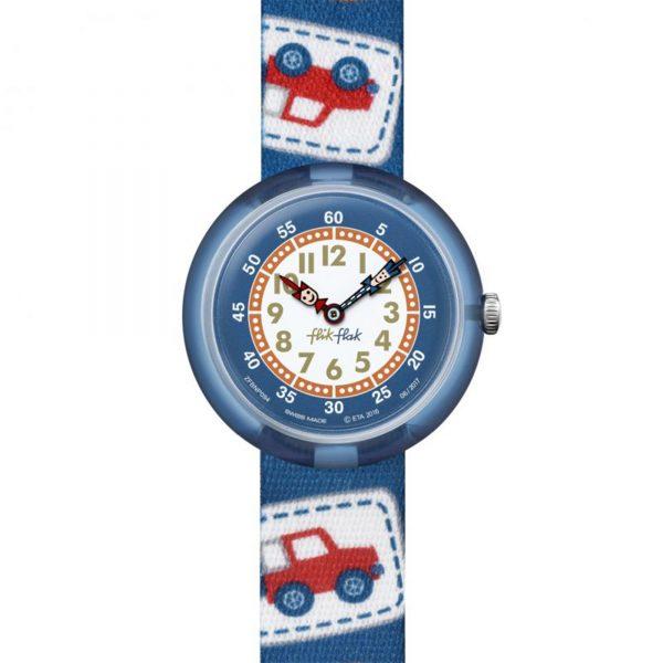 Flik Flak Camping Badge Quartz Movement Multicoloured Dial Textile Bracelet Kids Watch FBNP094