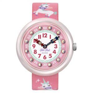 Flik Flak Up in the Sky Magical Dream Quartz Movement Pink Dial Textile Bracelet Kids Watch FBNP121