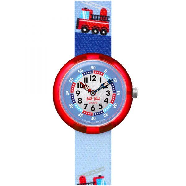 Flik Flak City of Life Firetruck Quartz Movement Blue Dial Textile Bracelet Kids Watch FBNP160