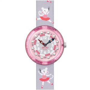 Flik Flak City of Life Pirouette Quartz Movement Pink Dial Textile Bracelet Kids Watch FBNP162