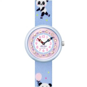 Flik Flak City of Life Pandi Panda Quartz Movement Pink Dial Textile Bracelet Kids Watch FBNP163