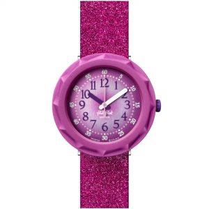 Flik Flak City of Life Purpleaxus Quartz Movement Purple Dial Textile Bracelet Kids Watch FCSP106