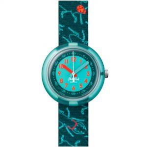Flik Flak Garden Adventure Funky Bugs Quartz Movement Green Dial Textile Bracelet Kids Watch FPNP060