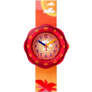 Flik Flak Pool in Miami Palmiboo Quartz Movement Red Dial Textile Bracelet Kids Watch FPSP040