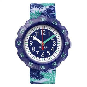 Flik Flak Pool in Miami Releaf Quartz Movement Blue Dial Textile Bracelet Kids Watch FPSP041