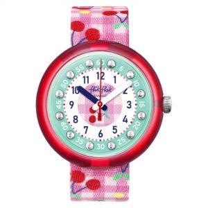 Flik Flak Garden Adventure Cherrific Quartz Movement Green Dial Textile Bracelet Girls Watch FPNP057