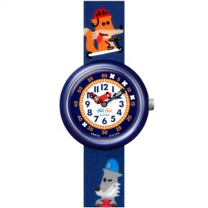 Flik Flak City of Life SK8FOX Quartz Movement Blue Dial Textile Bracelet Kids Watch FBNP164
