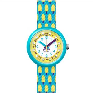 Flik Flak Pool in Miami Lemon Freeze Quartz Movement Yellow Dial Textile Bracelet Kids Watch FBNP164