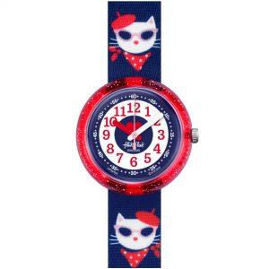 Flik Flak City of Life Catitude Quartz Movement Blue Dial Textile Bracelet Kids Watch FPNP065