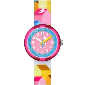 Flik Flak City of Life Casitas Quartz Movement Pink Dial Textile Bracelet Kids Watch FPNP065