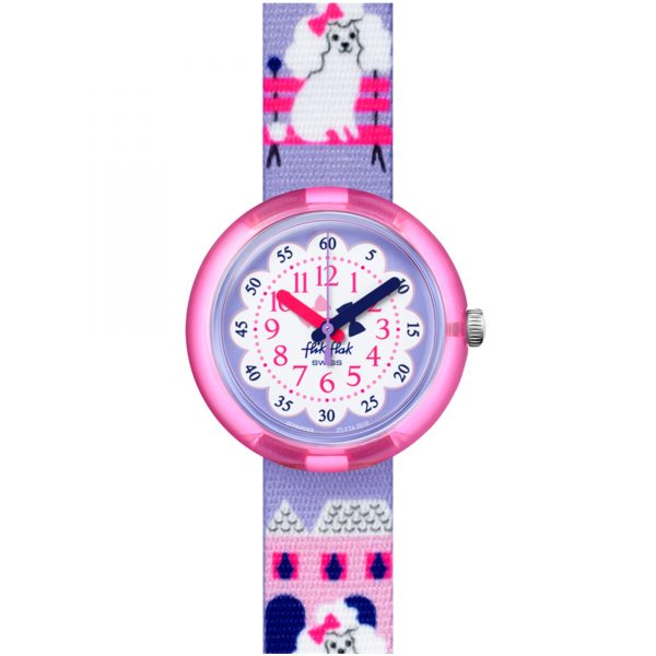 Flik Flak City of Life Miss Poodle Quartz Movement Purple Dial Plastic Bracelet Kids Watch FPNP068