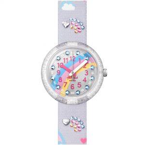 Flik Flak Shine Bright Over The Rainbow Quartz Movement Grey Dial Plastic Bracelet Kids Watch FPNP072