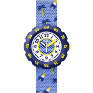 Flik Flak Peppiness Quartz Movement White Dial Textile Bracelet Kids Watch FPNP068