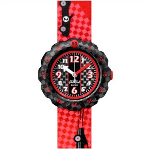 Flik Flak City of Life 3 2 1 Go! Quartz Movement Black Dial Textile Bracelet Kids Watch FPSP044