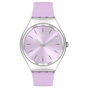 Swatch SKINSOFTBLINK Quartz Movement Pink Dial Silicone Bracelet Ladies Watch SYXS131