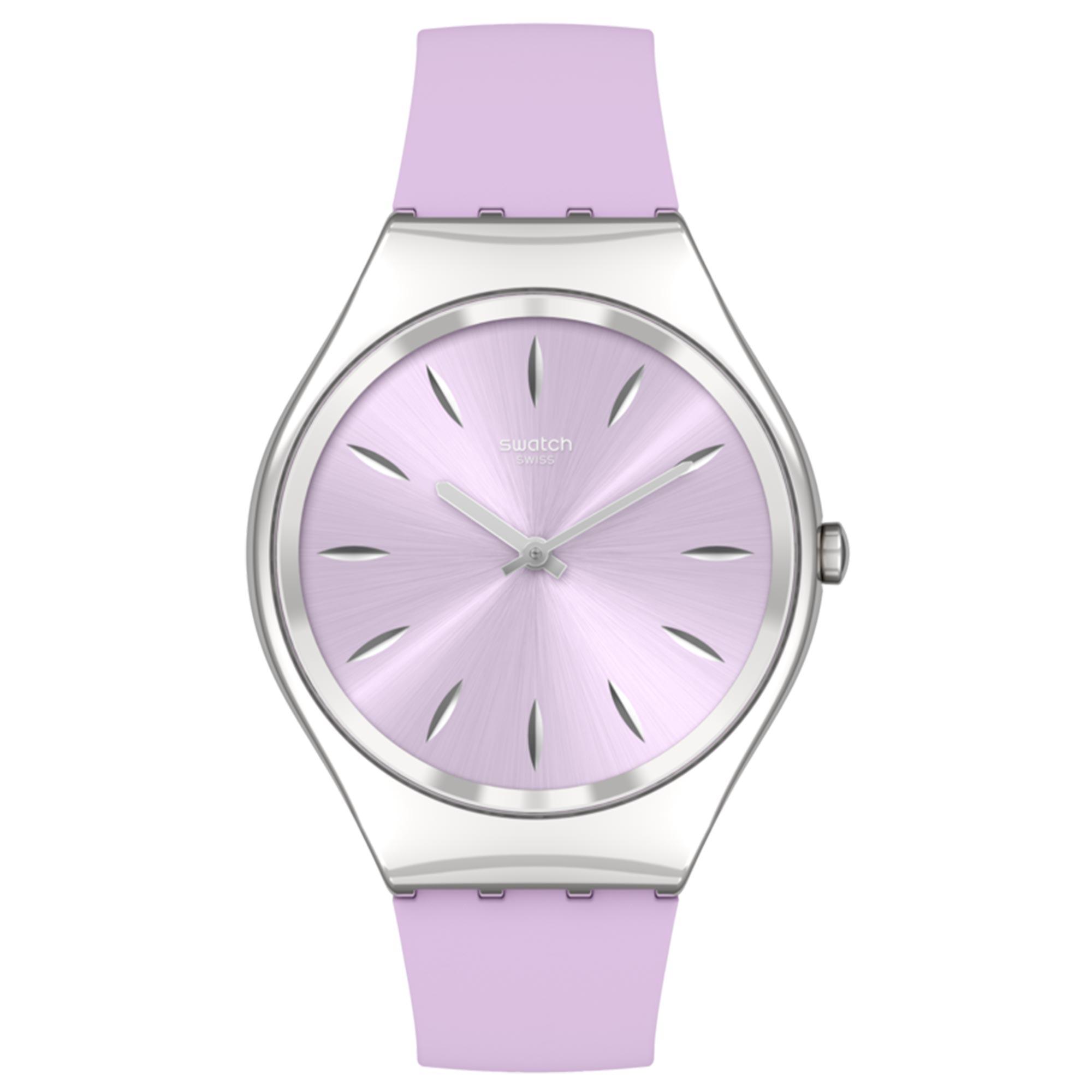 Swatch SKINSOFTBLINK Quartz Movement Pink Dial Silicone Bracelet Ladies Watch SYXS131