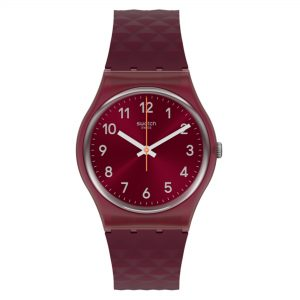 Swatch Rednel Quartz Movement Red Dial Plastic Strap Watch GR184