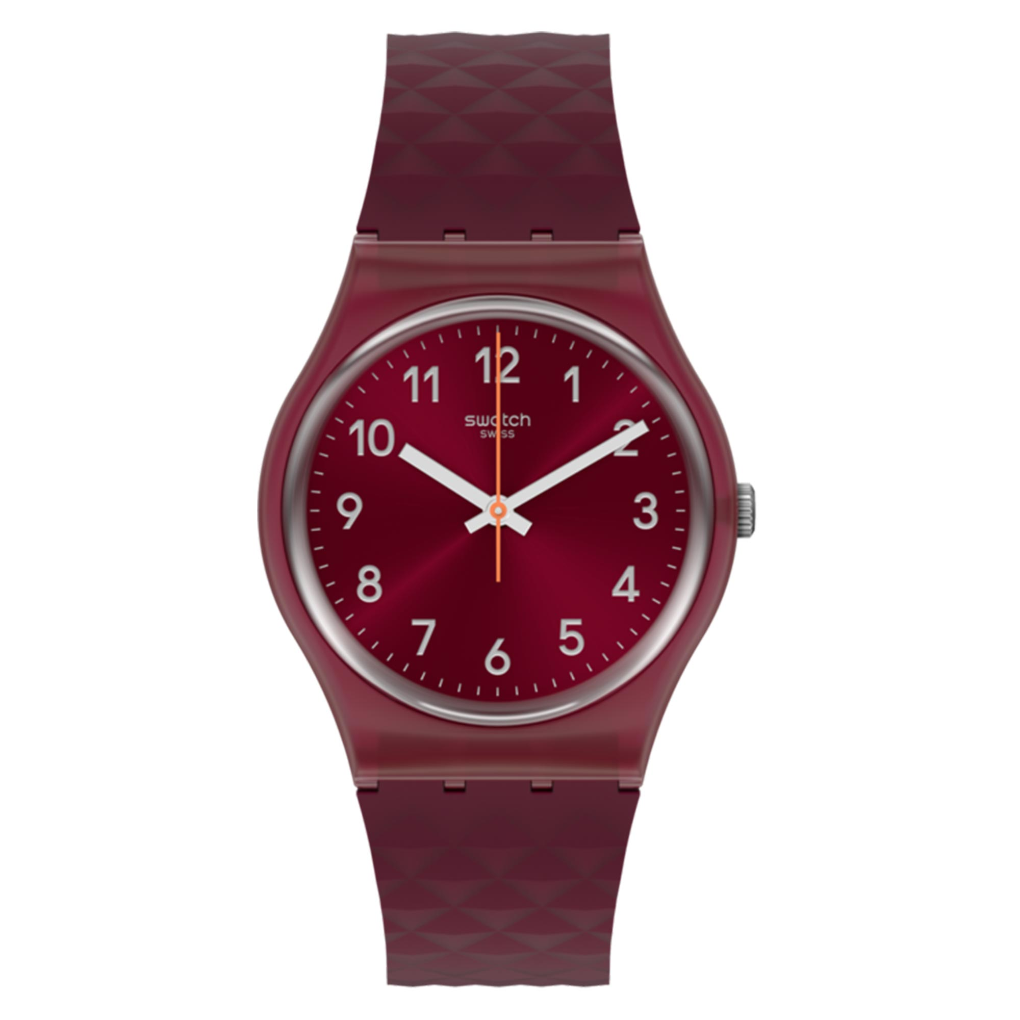 Swatch Rednel Quartz Movement Red Dial Plastic Strap Watch GR184