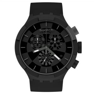 Swatch Big Bold Chrono Checkpoint Black Quartz Movement Black Dial Silicone Strap Watch SB02B400