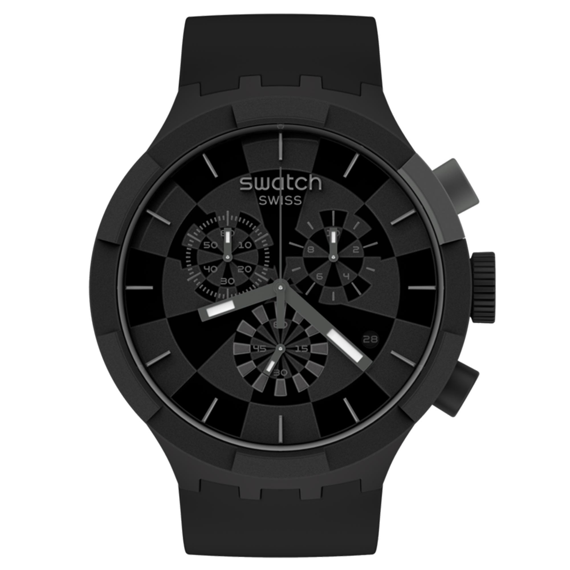 Swatch Big Bold Chrono Checkpoint Black Quartz Movement Black Dial Silicone Strap Watch SB02B400