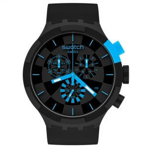 Swatch Big Bold Chrono Checkpoint Blue Quartz Movement Black Dial Silicone Strap Watch SB02B401
