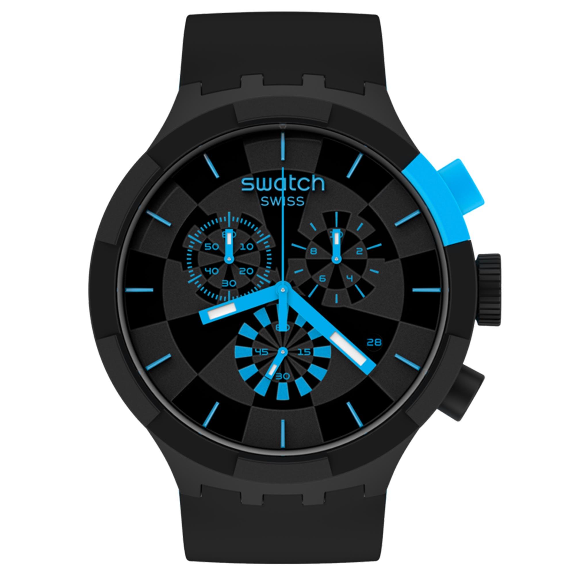 Swatch Big Bold Chrono Checkpoint Blue Quartz Movement Black Dial Silicone Strap Watch SB02B401