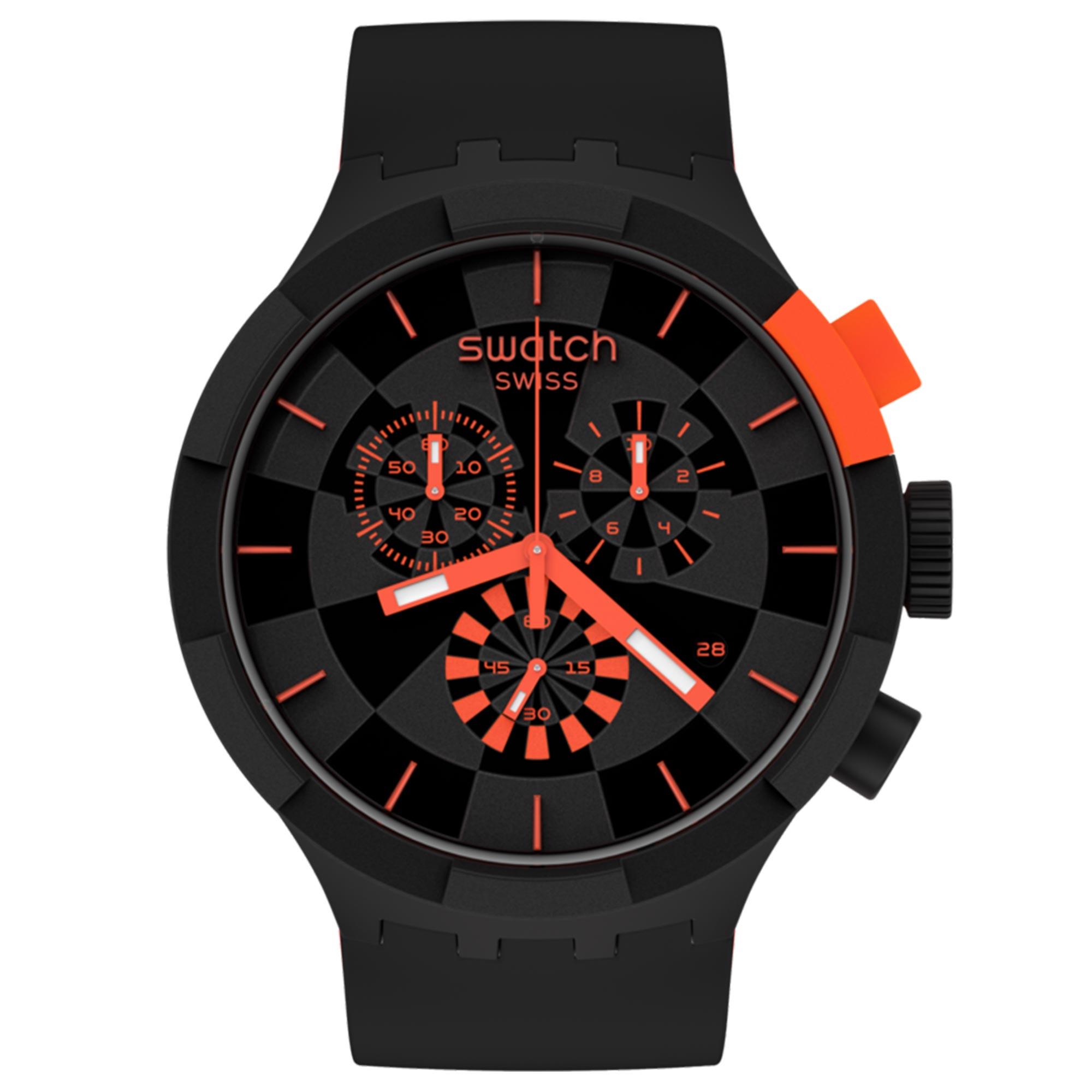 Swatch Big Bold Chrono Checkpoint Red Quartz Movement Black Dial Silicone Strap Watch SB02B402