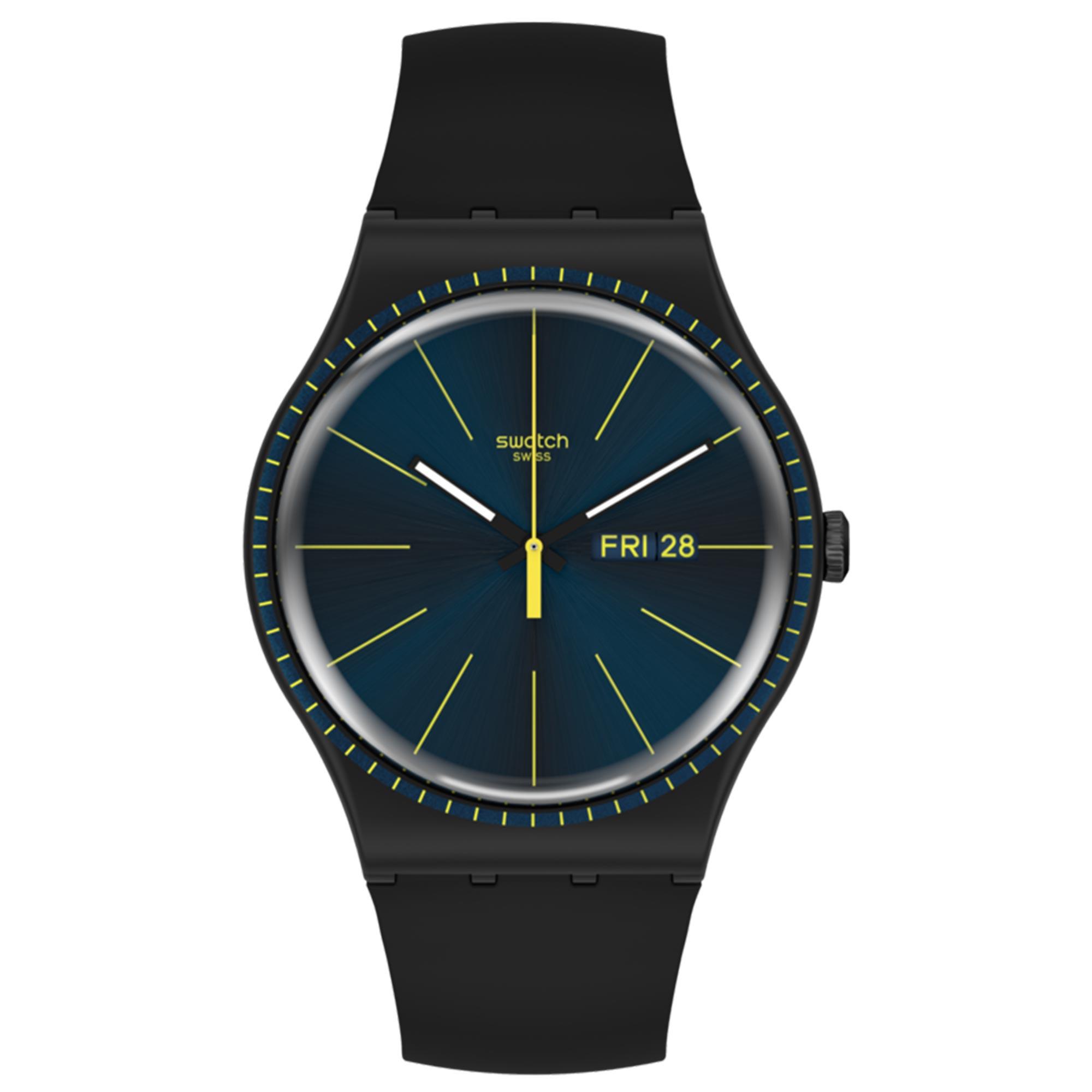 Swatch Essentials Black Rails Quartz Movement Blue Dial Silicone Bracelet Mens Watch SUOB731