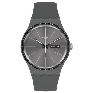 Swatch Essentials Grey Rails Quartz Movement Grey Dial Silicone Bracelet Mens Watch SUOM709