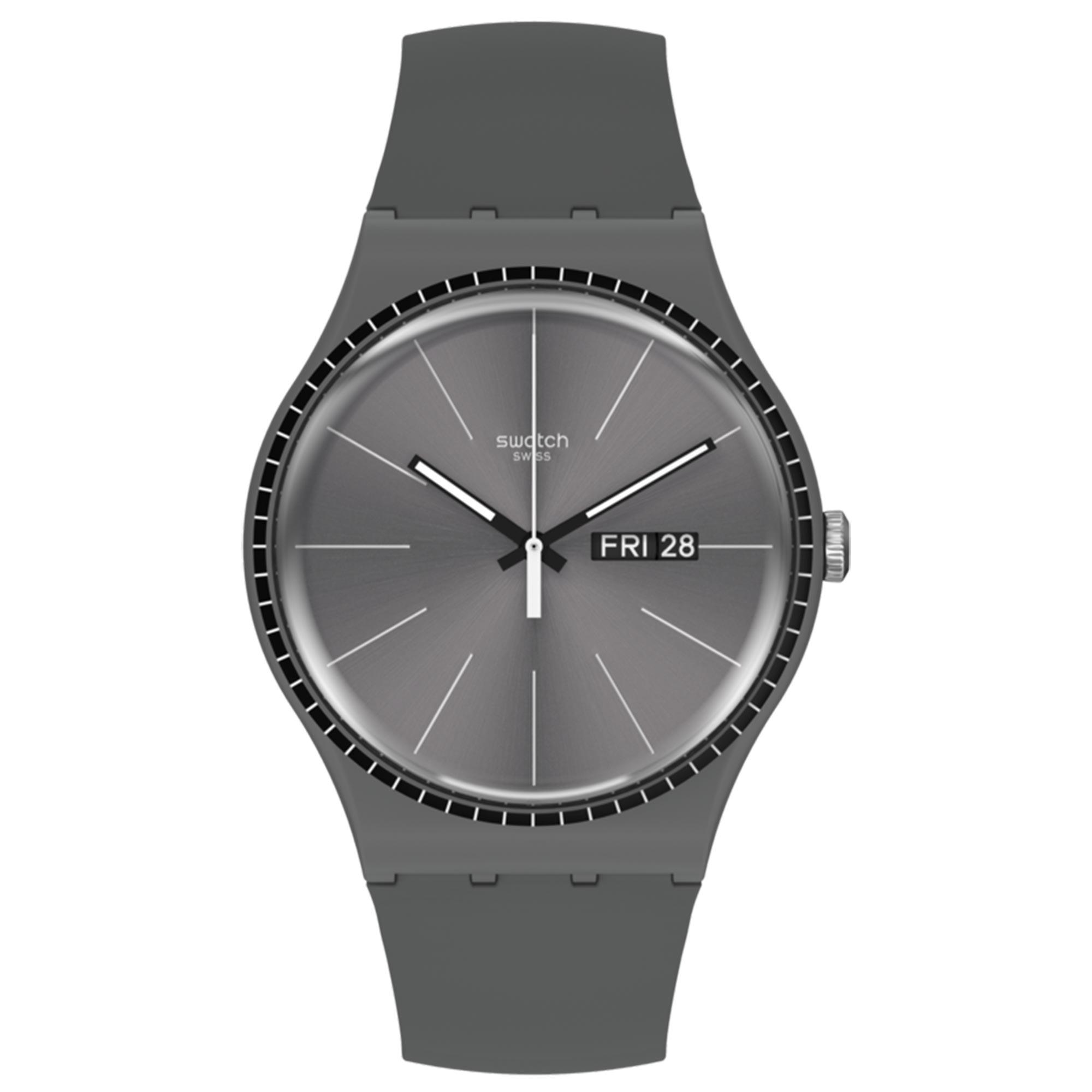Swatch Essentials Grey Rails Quartz Movement Grey Dial Silicone Bracelet Mens Watch SUOM709