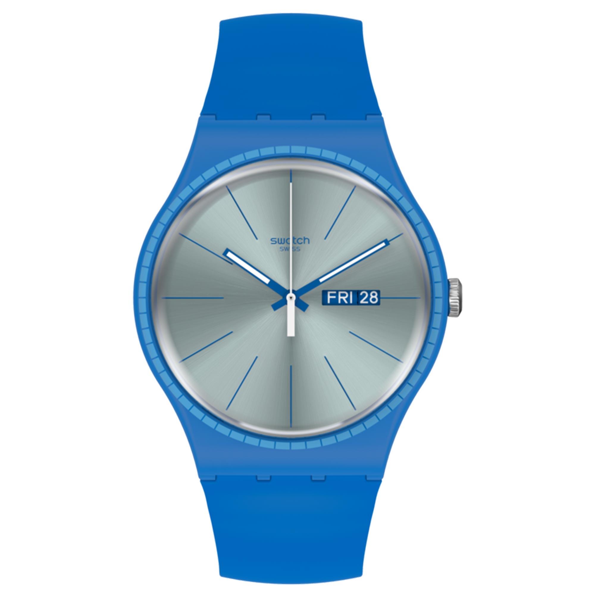 Swatch Essentials Blue Rails Quartz Movement Silver Dial Silicone Bracelet Mens Watch SUON714