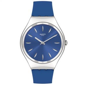 Swatch SKINDEEPBLINK Quartz Movement Blue Dial Silicone Bracelet Ladies Watch SYXS132