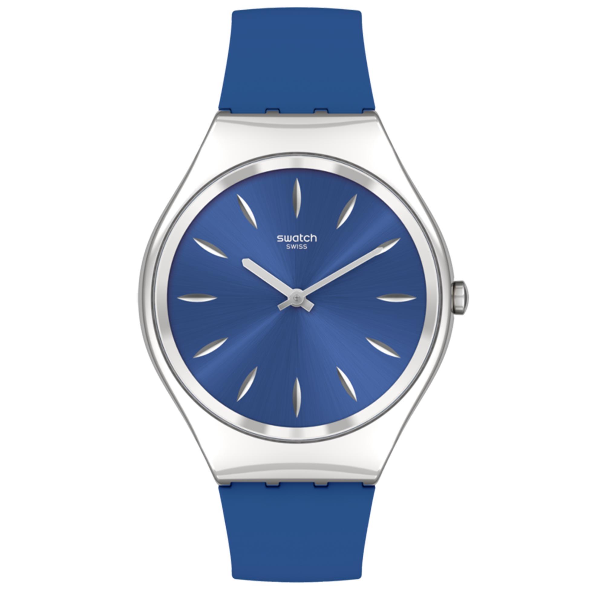 Swatch SKINDEEPBLINK Quartz Movement Blue Dial Silicone Bracelet Ladies Watch SYXS132