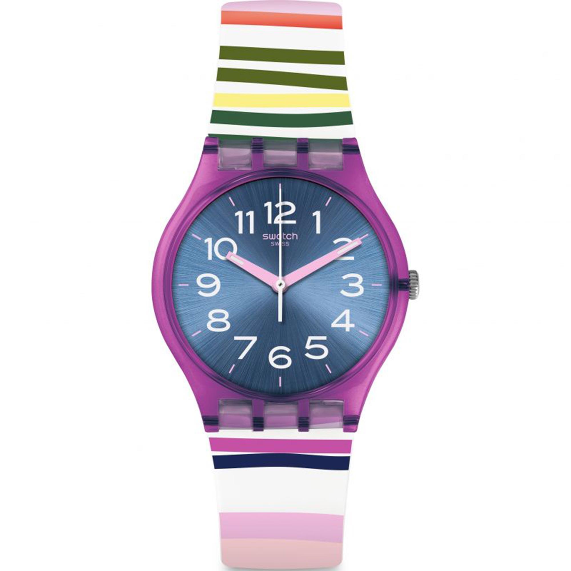 Swatch Funny Lines Quartz Movement Blue Dial Rubber Bracelet Unisex Watch GP153