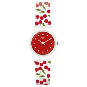 Swatch Cerise Moi Quartz Movement Red Dial Rubber Bracelet Women's Watch LW167