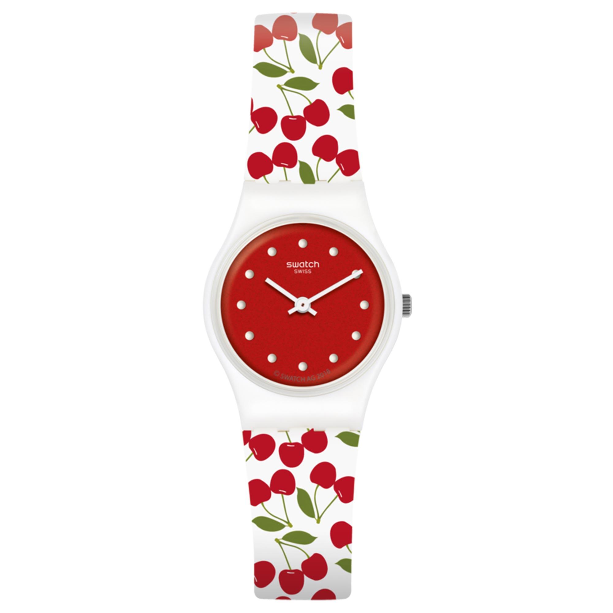 Swatch Cerise Moi Quartz Movement Red Dial Rubber Bracelet Women's Watch LW167
