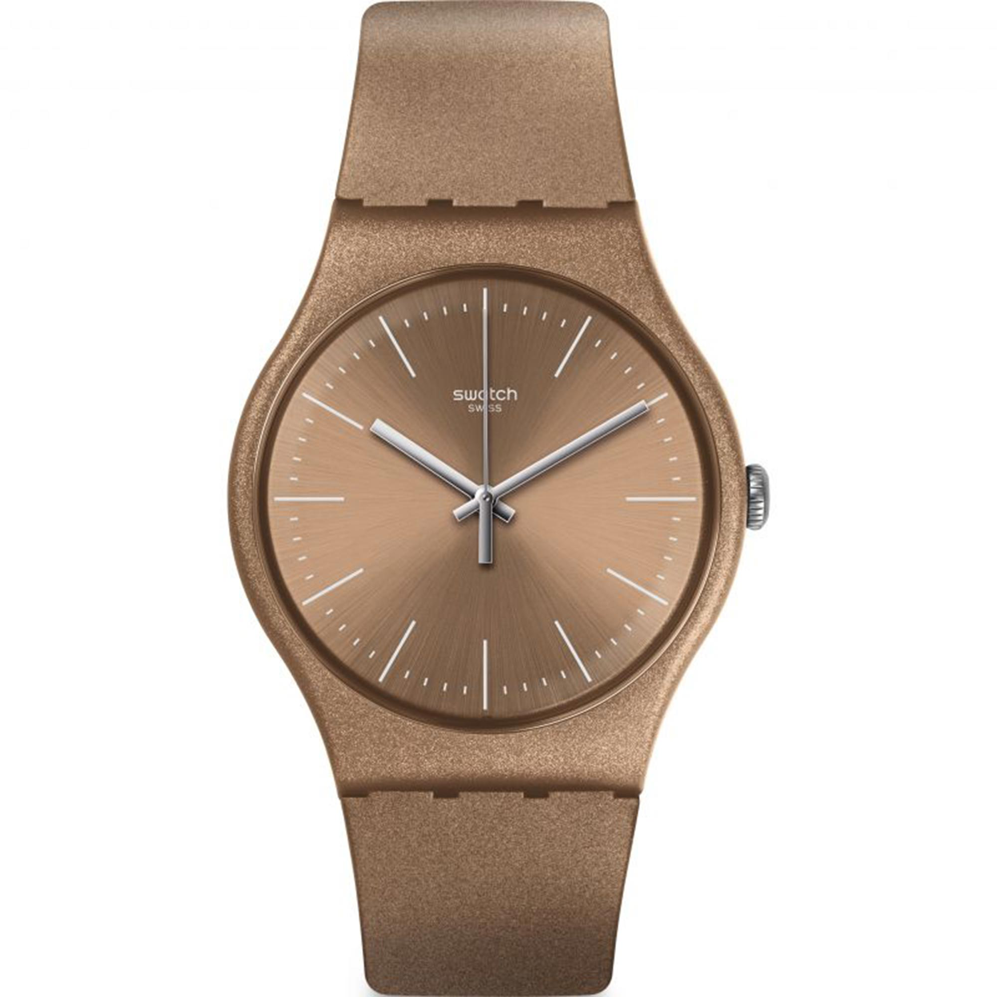 Swatch Powderbayang Quartz Movement Gold Dial Silicone Bracelet Mens Watch SUOM111