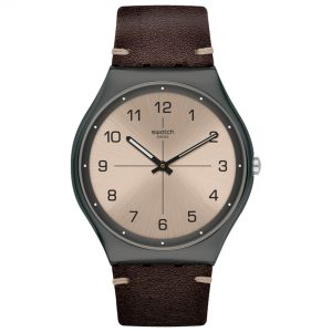 Swatch Time to Trovalize Quartz Movement Grey Dial Leather Bracelet Men's Watch SS07M100