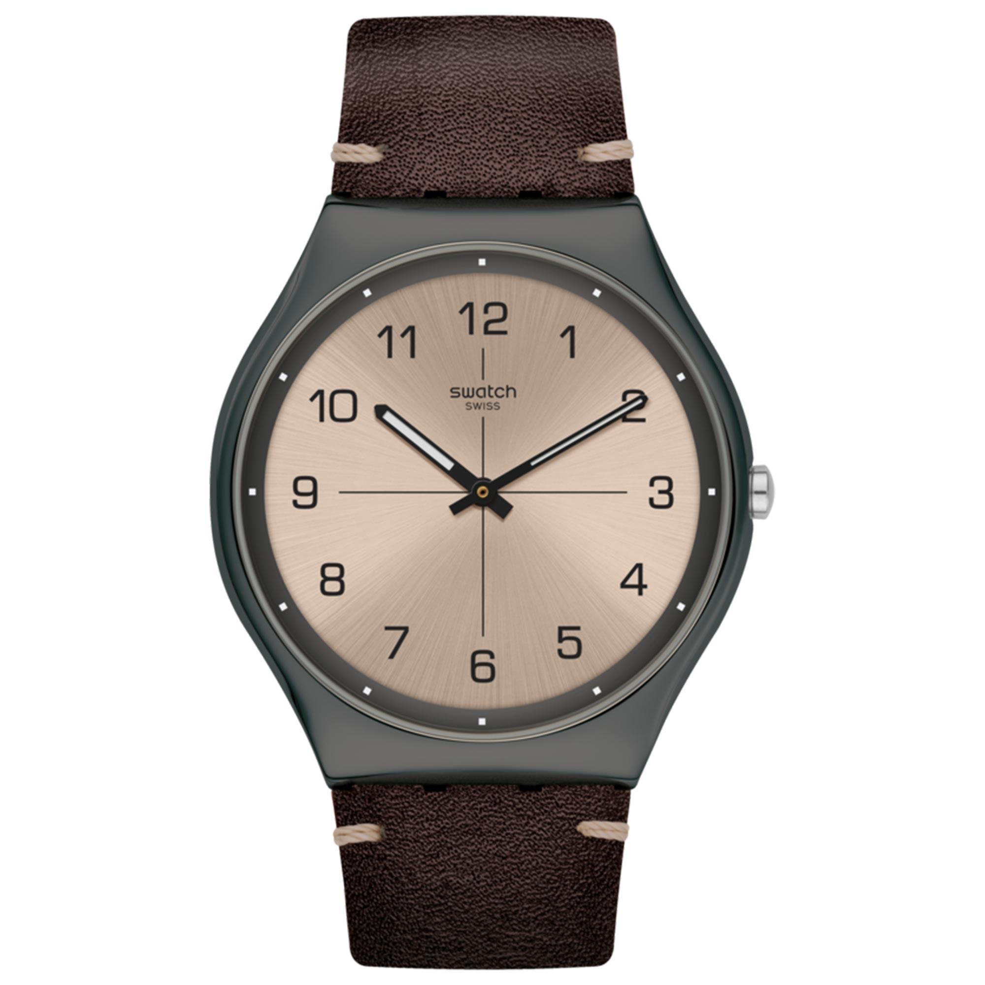 Swatch Time to Trovalize Quartz Movement Grey Dial Leather Bracelet Men's Watch SS07M100