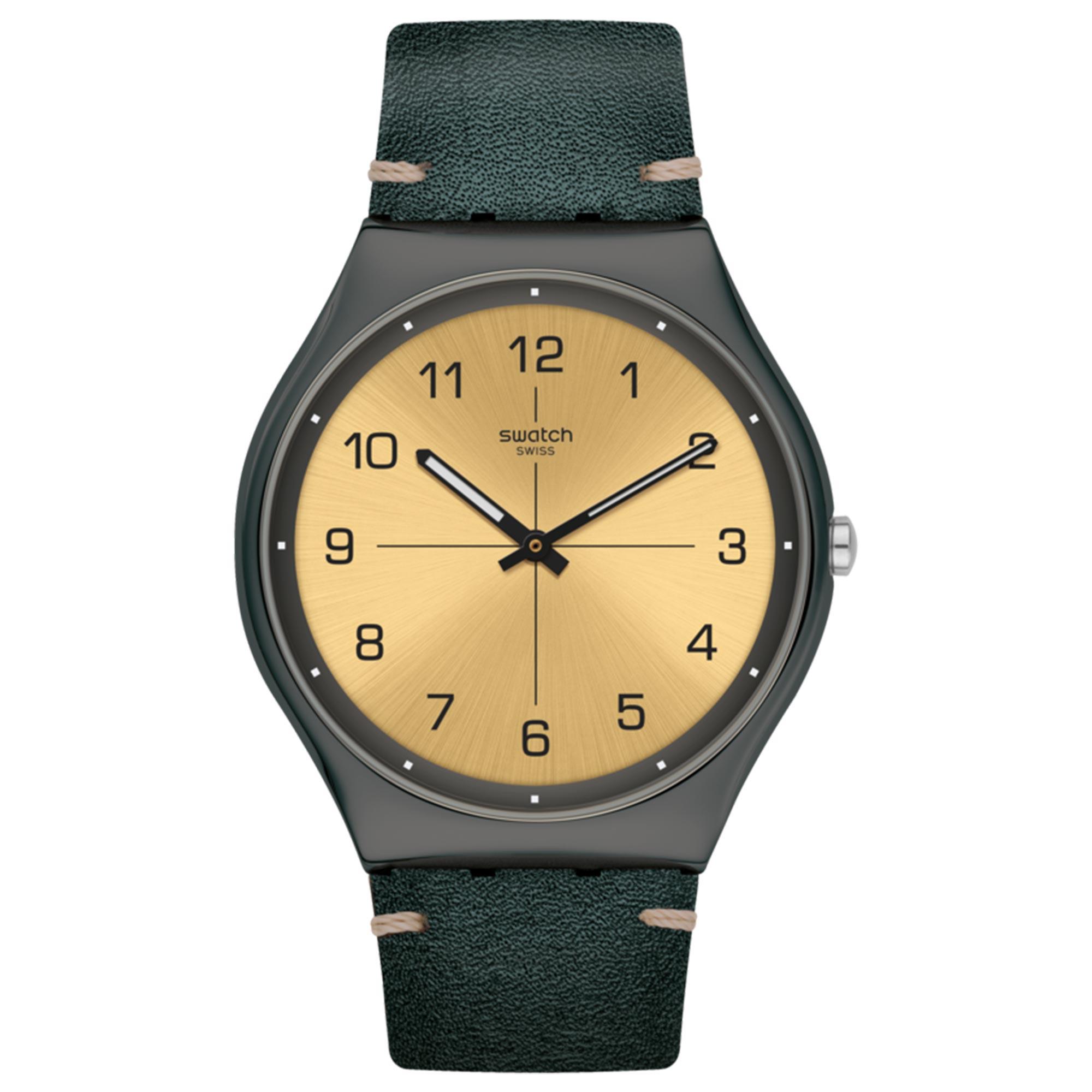 Swatch Trovalized Quartz Movement Gold Dial Leather Bracelet Men's Watch SS07M101