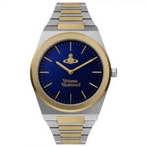 Vivienne Westwood Limehouse Grand Quartz Movement Blue Dial Plated Stainless Steel Bracelet Mens Watch VV245DBLSG