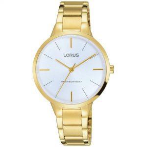 Lorus Quartz Movement White Dial Gold-plated PVD Bracelet Women's Watch RRS98VX9