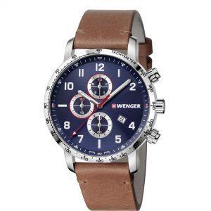 Wenger Attitude Vertical Quartz Movement Blue Dial Leather Strap Men's Watch 01.1543.108