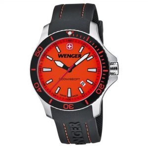 Wenger Sea Force Quartz Movement Orange Dial Rubber Strap Men's Watch 01.0641.111
