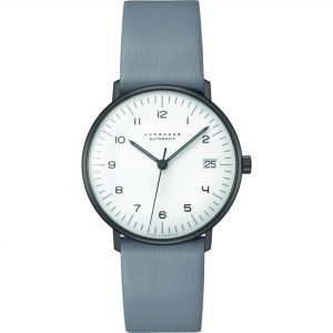 Junghans Max Bill Automatic White Dial Leather Bracelet Mens Watch 027/4006.04