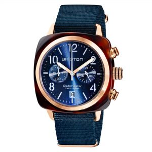 Briston Clubmaster Classic Quartz Movement Blue Dial Textile Strap Mens Watch 19140-PRS.T.33.NMB