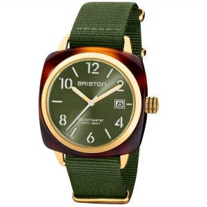 Briston Clubmaster Classic Quartz Movement Green Dial Textile Strap Mens Watch 20240.PYA.T.26.NOL