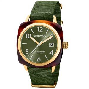 Briston Clubmaster Classic Quartz Movement Green Dial Textile Strap Mens Watch 20240.PYA.T.26.NOL