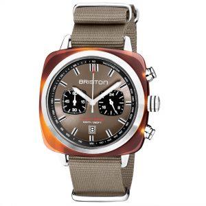 Briston Clubmaster Sport Quartz Movement Grey Taupe Dial Textile Strap Mens Watch 20142.SA.TS.30.NT