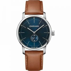 Wenger Urban Classic Quartz Blue Dial Brown Leather Strap Mens Watch 01.1741.10